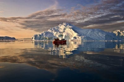 Sailing on Ilulissat Icefjord in Greenland