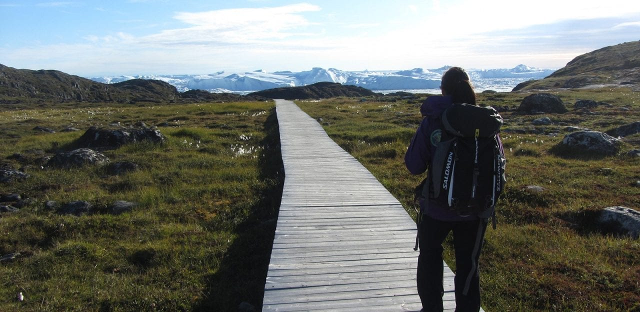 A hiker on the walingpath between Ilulissat and Sermermiut